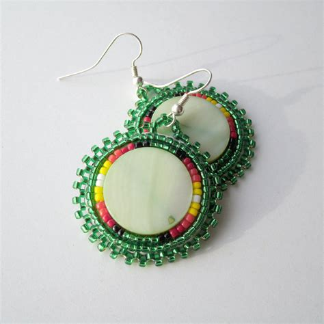 beaded earrings american beaded earrings green by ndnchick on etsy