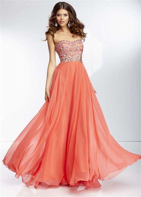 Longdress Softflow flowy prom dresses mori 95005 coral sequin beading flowy chiffon prom dress
