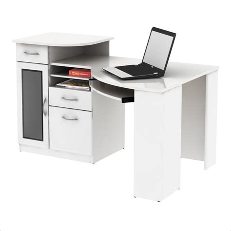 White Wood Computer Desk Bush Vantage Corner Wood White Computer Desk Ebay
