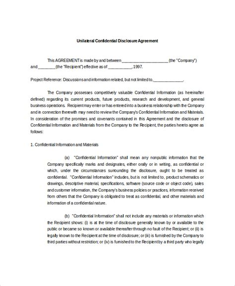 confidential disclosure agreement template confidential disclosure agreement 9 free word pdf