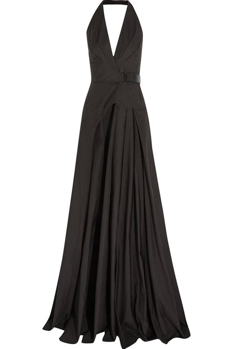 Net A Porter Cruise Collection And 50 Sale by Bottega Veneta Leather Trimmed Cotton Halterneck Gown In
