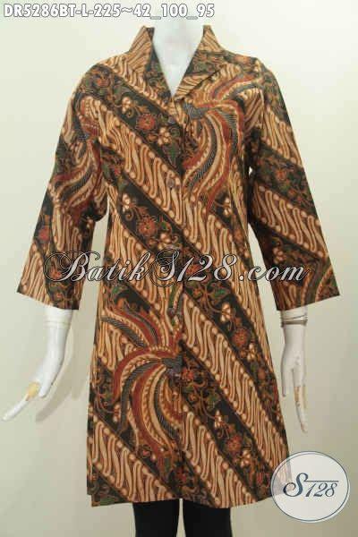 Batik Wanita Dress Terusan Parang Soft pakaian batik klasik kombinasi tulis dress batik kerah