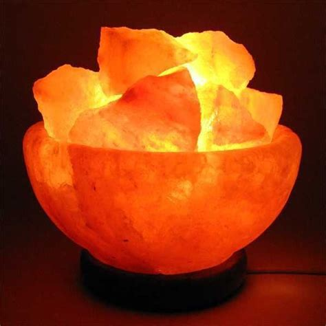Salt Rock Light by Himalayan Rock Salt L Bowl With Wooden Base And