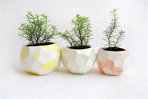 home decor pots set of three faceted ceramic planters ceramic pots decorated