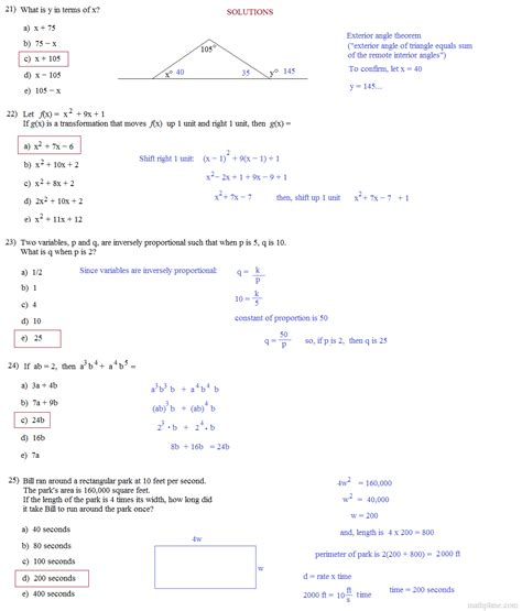 Act Practice Test 1 Section 1 Answers by Act Math Practice Problems Worksheet 1000 Ideas About