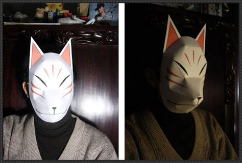 Kitsune Mask Papercraft - a size fox mask papercraft free template