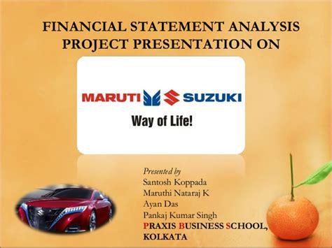 Suzuki Financial Services Ltd Maruti Suzuki India Ltd Financial Statement Analysis