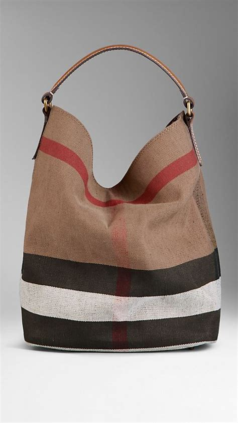 Burberry Check Canvas Hobo by Medium Canvas Check Hobo Bag Saddle Brown Burberry