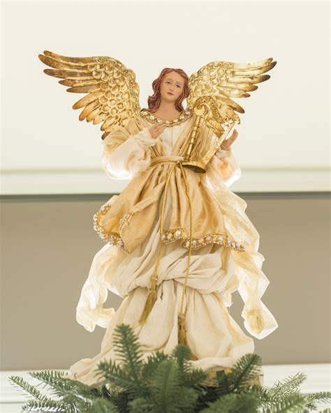 gold angel tree topper balsam hill white christmas