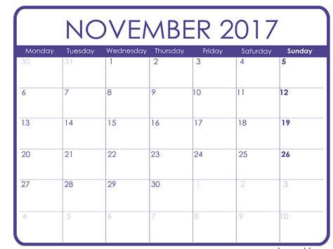printable weekly calendar for november 2017 november 2017 printable calendar templates free