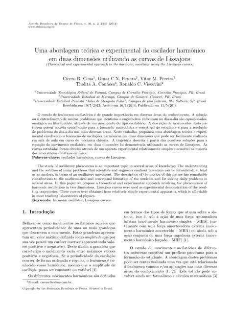 (PDF) Uma abordagem teórica e experimental do oscilador