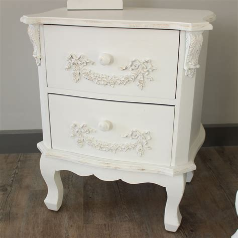 Vintage Bedside Tables Furniture Bundle Pair Of Antique White 2 Drawer Bedside Tables Pays Blanc Range Melody Maison 174
