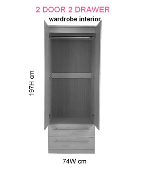 Narrow White Wardrobe With Drawers Snowdon 2 Door 2 Drawer Narrow Wardrobe In Various