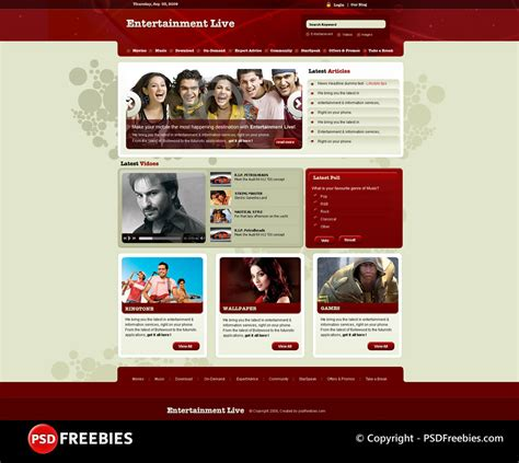 entertainment templates for blogger download 15 free psd website design templates