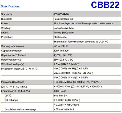 cbb22 capacitor pdf polypropylene capacitor data sheet 28 images x2 mkp polypropylene capacitors micros