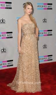 elegant strapless long gold sequined taylor swift red