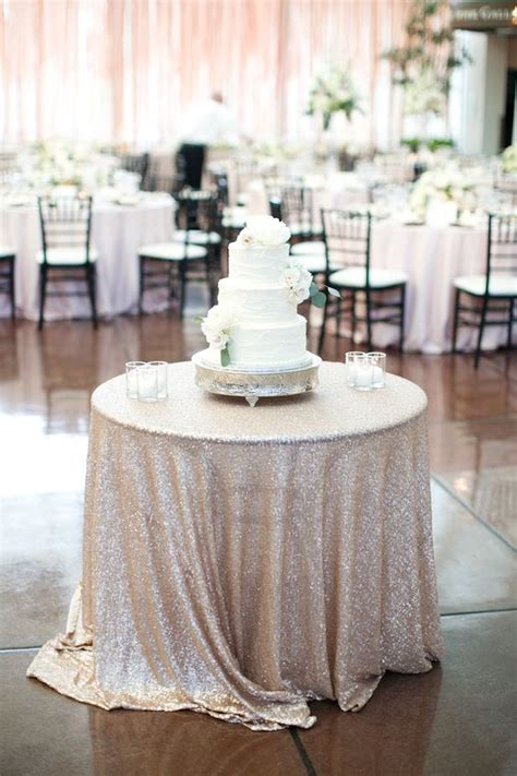 Cake Table Wedding by Cake Table Tablecloth Sequins Photography