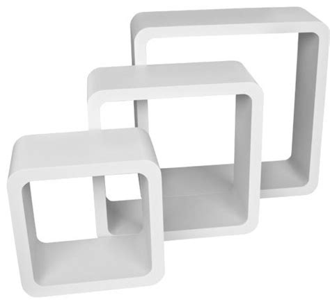 set of 3 retro white square floating cube wall storage