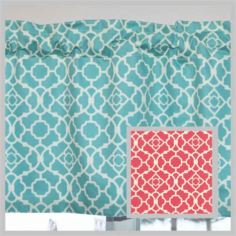 Aqua Valance Kitchen Curtain Valance Aqua Blue Or Coral Lovely