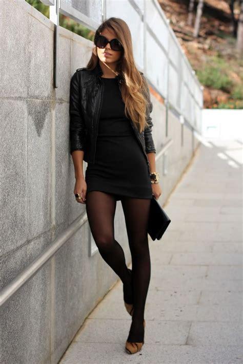 tight black short dress black leather jacket sheer black