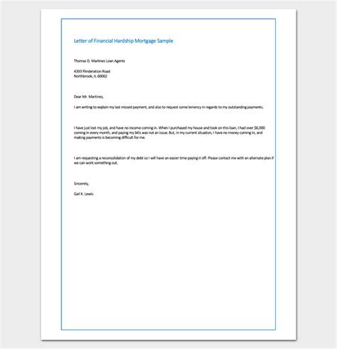 sle letter of financial hardship mortgage sle exle format letter templates