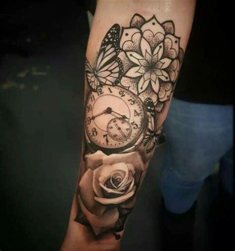 tattoo flower clock clock butterfly flower tattoo tatuajes pinterest