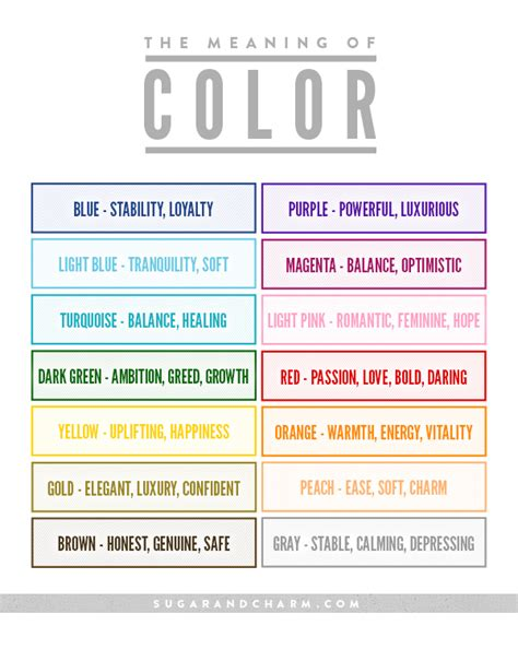 color meanings chart the meaning of color chart sugar and charm sugar and charm