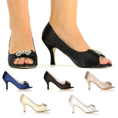 Sepatu High Heels Satin ivory white navy satin low heel bridal prom peep toe sandal shoes uk 3 8 ebay