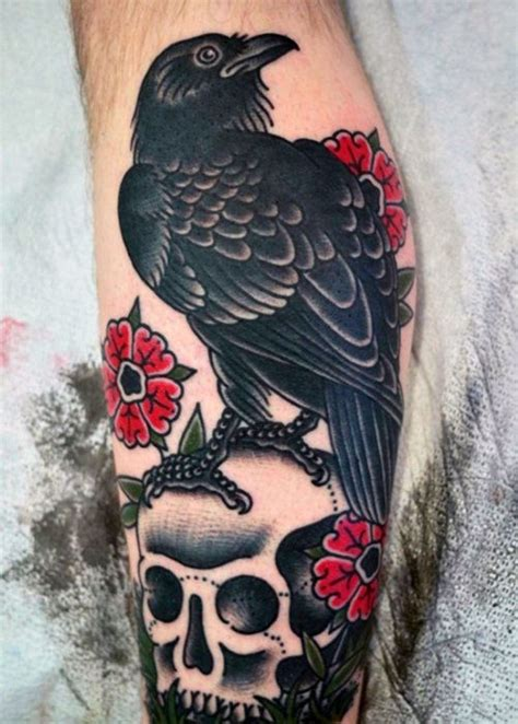 40 traditional crow tattoo designs for men old birds