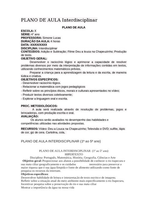 PLANO DE AULA Interdisciplinar