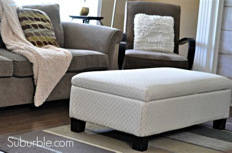 how to reupholster an ottoman with storage recovered ottoman makeover guest post from suburble