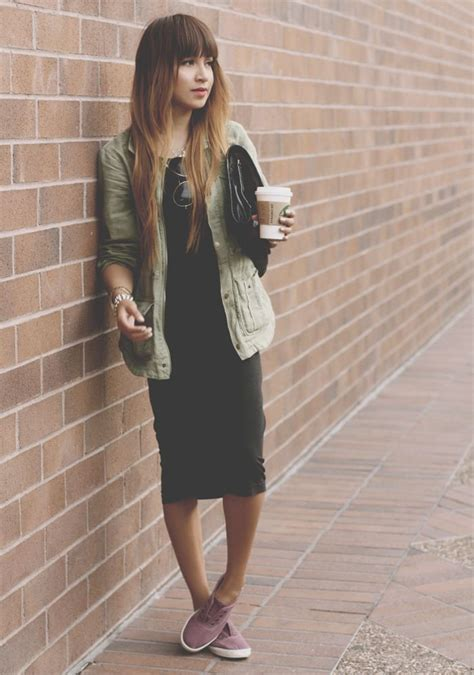 midi dress with sneakers fashion and