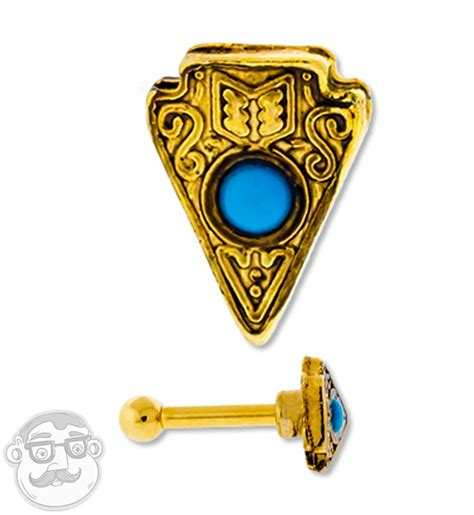 16g Gold Pvd Arrowhead Turquoise Inlay Cartilage Tragus