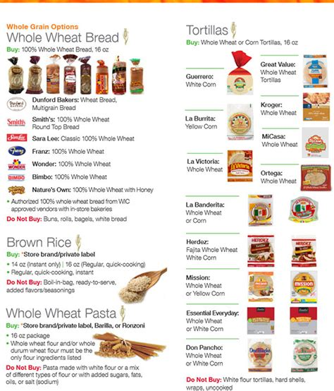 whole grains on wic utah wic food list