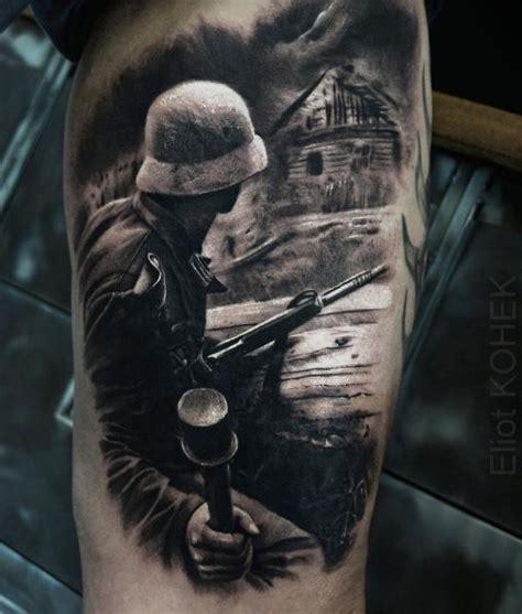 war sleeve tattoo designs realistic war black and gray tattoos