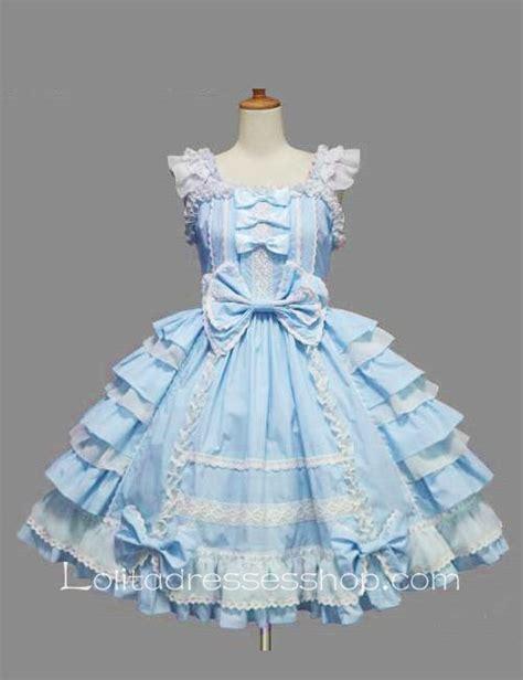 Dress Cotton Sweet Blue D203c3 cheap blue cotton white lace square neck cap sleeve knee length ruffles bow sweet dress