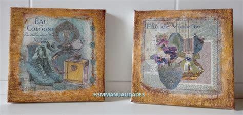 tutorial decoupage en lienzo h3m manualidades cuadros vintage para el tocador