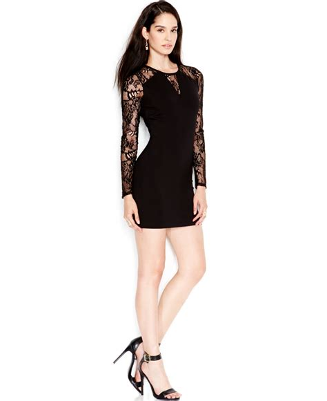 Guess Dress Bodycon lyst guess lace contrast bodycon dress in black