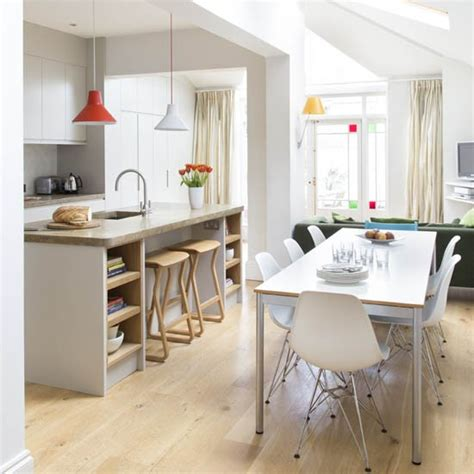 modern kitchen dining open plan with pillars and breakfast modern kitchen with open plan dining area contemporary