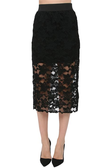 free black lace pencil skirt lyst
