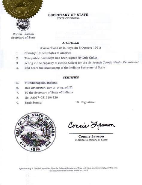 Indianapolis Indiana Birth Records Indiana Hague Apostille 2017