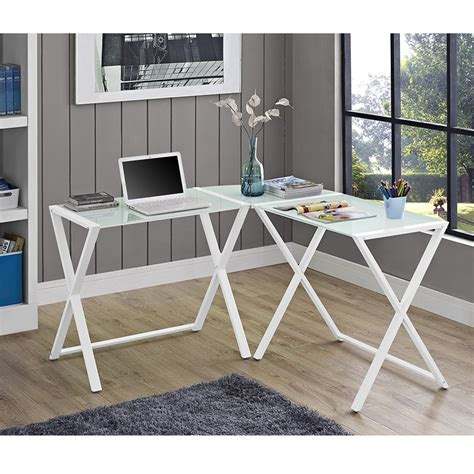 White Glass Steel X Frame Corner Office Desk Corner Desk Metal