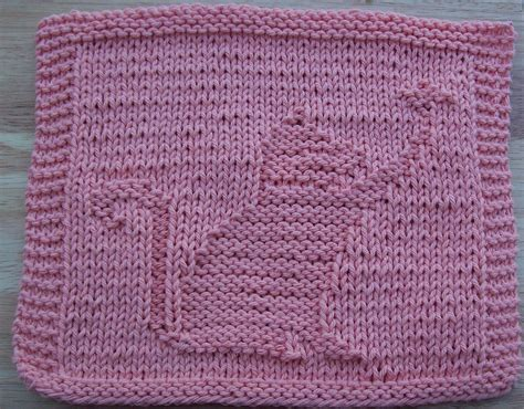 pattern for knitting a dishcloth knitted cat dishcloth patterns free crochet and knit