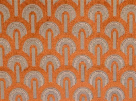 upholstery fabrics online uk art deco arches orange figured velvet fabric