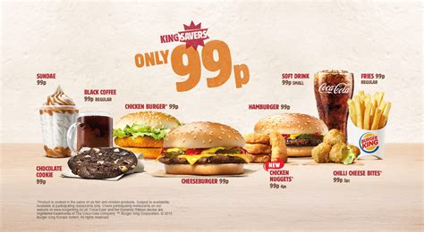 Burger King Gift Card Uk - king savers menu only 99p all student deals