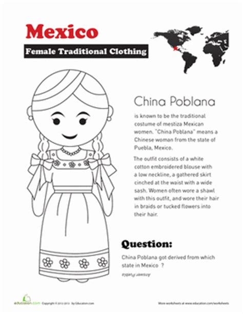 traditional mexican clothing worksheet education