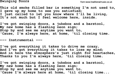 swinging song lyrics swinging doors by george jones counrty song lyrics