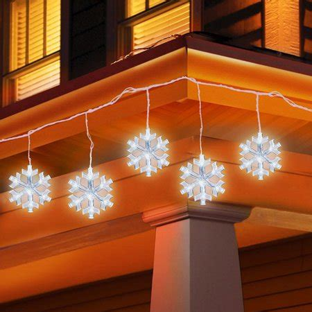 outdoor snowflake lights string time 5 count led snowflake icicle string lights walmart