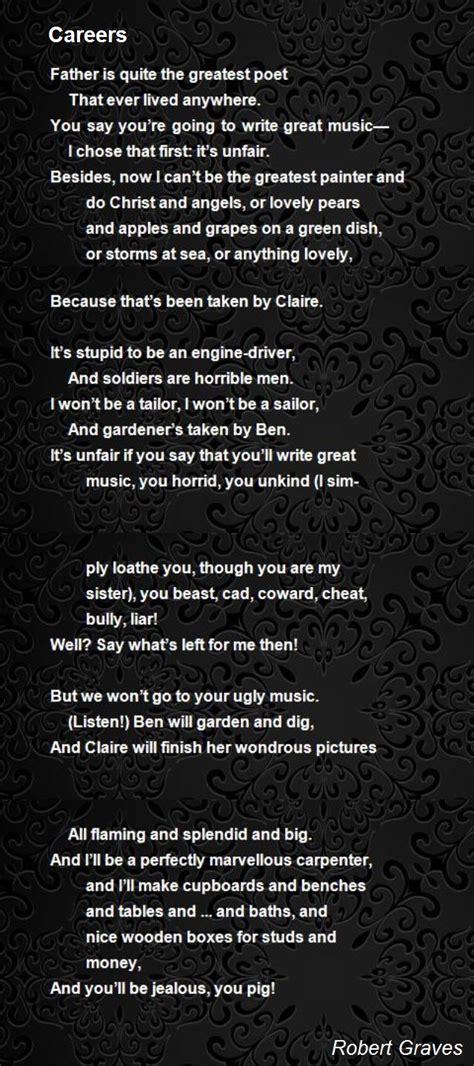 careers poem by robert graves poem hunter