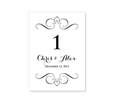 wedding table numbers template 43 design shop